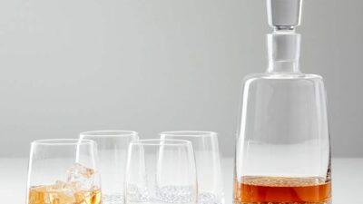 Metallic Base Decanter & Glassware Set